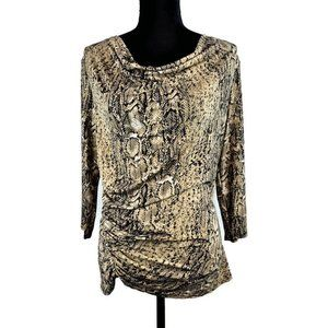 Vince Camuto Blouse M Snakeskin Print Ruched